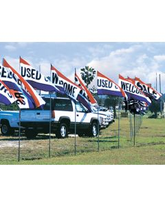 Economic Message Flags on poles in front of vehicles at an auto dealership lot