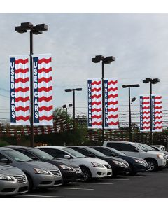 Uncle Sam Message Flags: 3X8 With Message With Sleeves on poles over an auto dealership