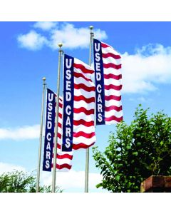 Uncle Sam Message Flags: 3X8 With Message No Sleeves on poles over an auto dealership