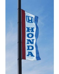 Double-Sided Manufacturer Logo Drape Flags with Sleeves on an auto dealership pole