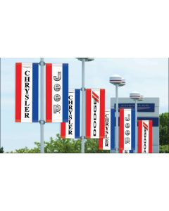 Double-Sided Manufacturer Logo Drape Flags with Sleeves on poles in an auto dealership
