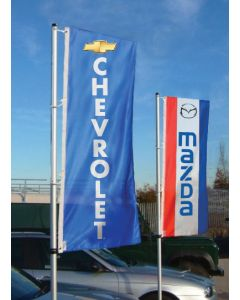 Single-Sided Manufacturer Logo Drape Flags without Sleeves on poles in front of vehicles in an auto dealerhsip