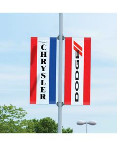 Single-Sided Manufacturer Logo Drape Flags with Sleeves on pole in an auto dealership