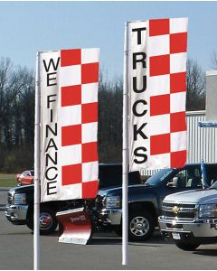 Checkered Message Flags on poles at an auto dealership