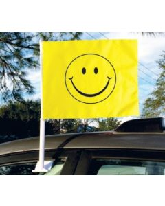 Car Window Flags Smiley Face on vehicle in an auto dealership