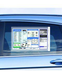 SalesSleeve® on vehicle window at an auto dealer lot