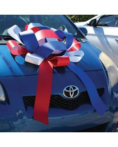 """30"""" Showroom Bow Patriotic on vehicle hood at an auto dealeship"""