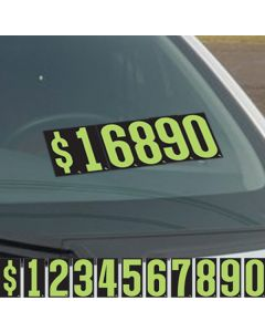 "Black & Green 5.5"" vinyl windshield number pricer kit"