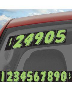 Black & Green vinyl windshield number pricers