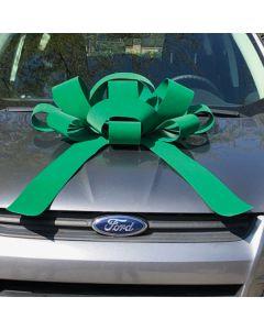 "30"" Velvet Showroom Bows Green on vehicle in auto dealership"