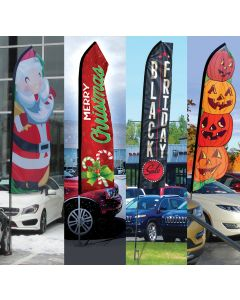 Seasonal Swooper Flags: Flag Only in front of vehicles at auto dealerships