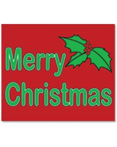 Clip-on Car Window Flags: Holiday Merry Christmas Holly red green B