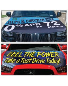 Custom Hood Banners on vehicles at an auto dealership