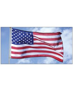 Lightweight American Flags on pole over an auto dealership lot