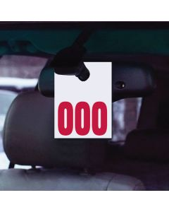 Service Tag Number Long hanging on rearview mirror of vehicle at auto dealer