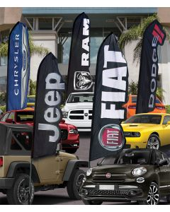 FCA Branded Die Cut Swooper Flags: Flag Only on vehicles in an auto dealership
