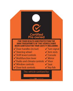 CPOV Sanitized Vehicle Checklist Hang Tag