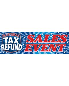 Stock Vinyl Banners national tax refund sales event patriotic