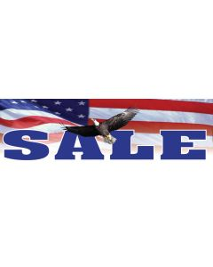 Stock Vinyl Banners blue sale on US flag with eagle patriotic