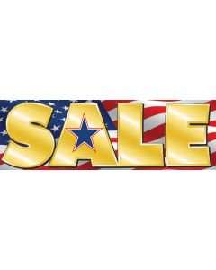 Stock Vinyl Banners gold sale on US flag