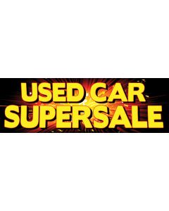 Stock Vinyl Banners yellow used car supersale on ray background