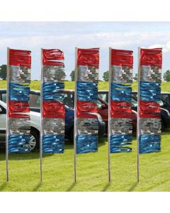 Metallic red silver blue Ground Pennants in front of cars at auto lot