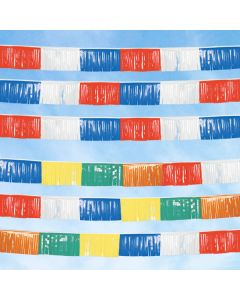Poly Fringe Streamers in the sky over an auto dealer lot multi and RWB colors