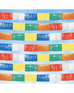 Poly Fringe Streamers multi red white blue yellow green orange in the sky over an auto lot