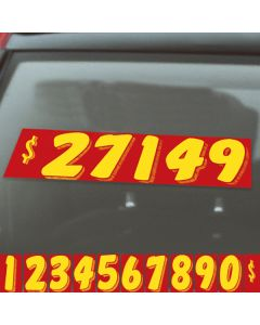 red and yellow vinyl pricer number kit on auto windshield