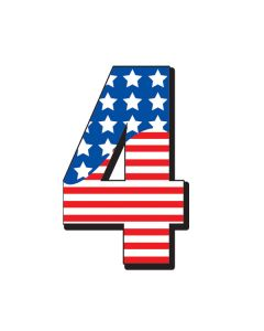 Stay-Put Numbers: Star & Stripes Red White Blue 10x16 #4