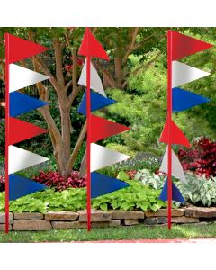 Red White & Blue Ground Pennants in front of auto dealer