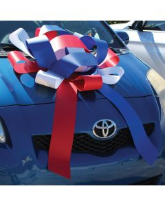 Showroom Bow: 30 inch Patriotic on vehicle window at an auto dealership