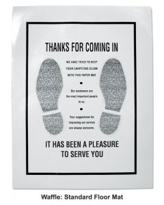 """Waffle Texture """"Thank You"""" Floor Mats - Pack of 250"""