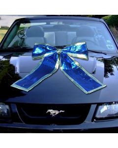 Giant Shiny Car Bows blue on vehicle windshield in an auto dealership