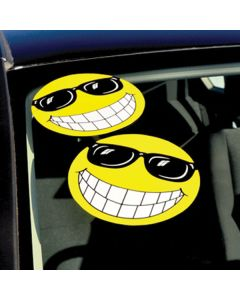 Smiley Face Stickers on car windshield in auto dealership