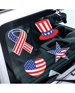 Special Occasion Decals on vehicle windshield in an auto dealer lot