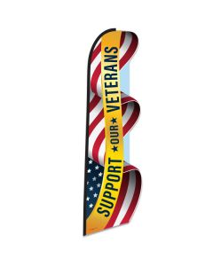 SUPPORT OUR VETERANS Die Cut Swooper Flag
