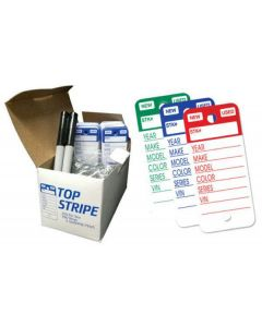 Top Stripe Key Tags in box with black marker