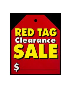 Stickers: Extra Large Hang Tag Red Tag Clearance Red with Yellow