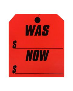 Stickers: Large Hang Tag Was Now Fluorescent Red
