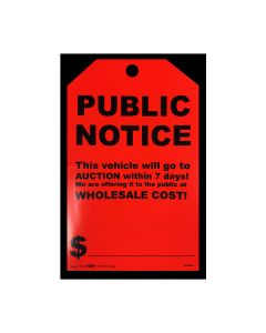 Stickers: Hang Tag  Public Notice Fluorescent Red