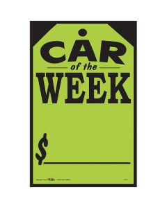 Small Hang Tag Sticker Black on Fluorescent Green Car of the Week