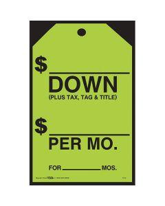 Small Hang Tags Sticker Black on Fluorescent Green Down Per Mon