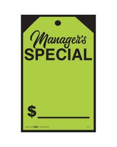 Small Hang Tag Sticker Black on Fluorescent Green Managers Special