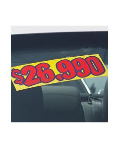Vinyl Pricer Signs: Red and Yellow on vehicle windshield at an auto dealer lot
