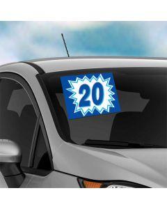Blue Explosion Vinyl Years on vehicle windshield