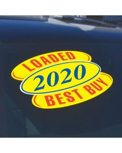 Arch Slogans red-yellow on a vehicle with oval year