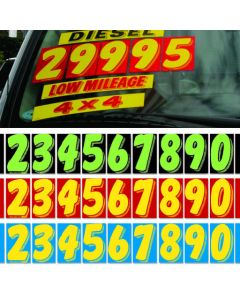 11 1/2 inch Vinyl Pricers on a car green-black yellow-red yellow-blue