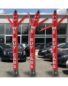 We Buy Cars Dancing Puppet Red with White text at used car lot