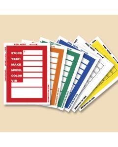 Window Stock Stickers: Regular red, orange, green, blue, white, yellow